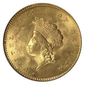 1854 TYPE 2 G$1 MS obverse