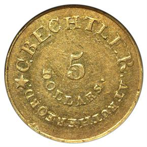 (1834-37) C.BECHTLER 140G, 20C, RUTHERF $5 MS obverse