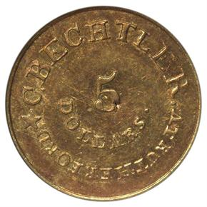 (1837-42) C.BECHTLER 128G, 22C, COLON $5 MS reverse