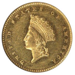 1856 S G$1 MS obverse