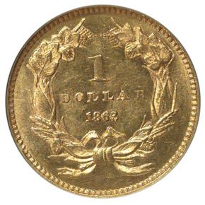 1863 G$1 MS reverse
