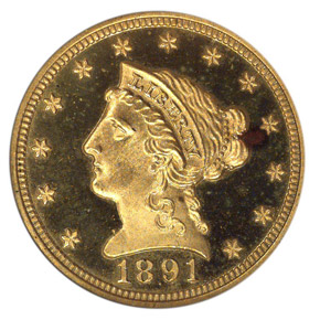 1891 $2.5 PF obverse