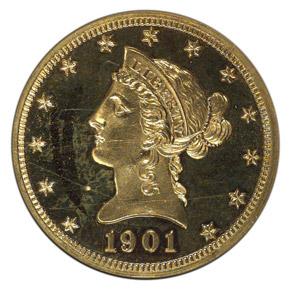1901 $10 PF obverse