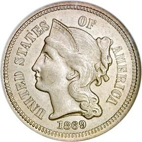 1869 3CN MS obverse