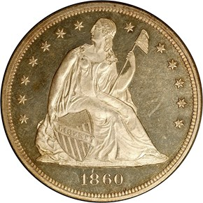 1860 S$1 PF obverse