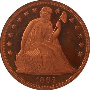 1864 J-397 S$1 PF obverse