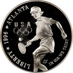 1996 P OLYMPICS TENNIS S$1 PF obverse
