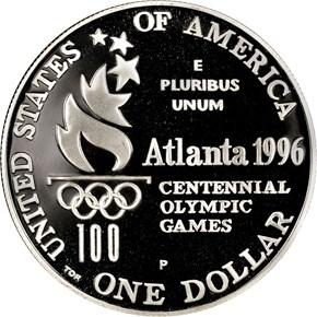 1996 P OLYMPICS TENNIS S$1 PF reverse