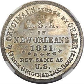 1861 CSA TOKEN B-8003 WHITE METAL 50C MS reverse