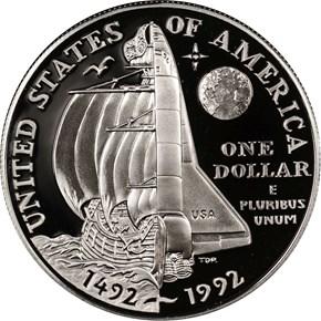 1992 P COLUMBUS S$1 PF reverse