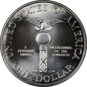 1989 D CONGRESS S$1 MS reverse