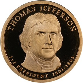 2007 S THOMAS JEFFERSON $1 PF obverse