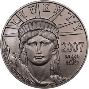 2007 W EAGLE BURNISHED PLATINUM EAGLE P$100 MS obverse