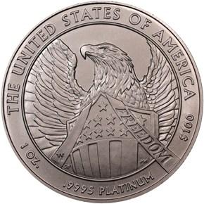 2007 W EAGLE BURNISHED PLATINUM EAGLE P$100 MS reverse