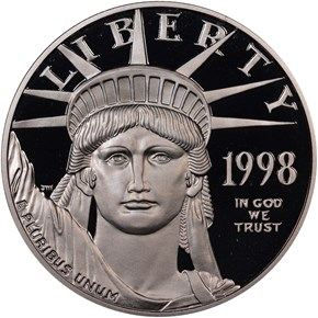 1998 W EAGLE P$100 PF obverse