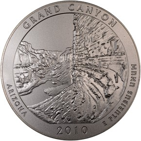 2010 P 5oz SILVER GRAND CANYON 25C SP obverse