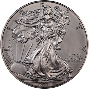 2011 W EAGLE BURNISHED SILVER EAGLE S$1 MS obverse