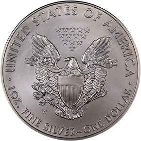 2011 W EAGLE BURNISHED SILVER EAGLE S$1 MS reverse