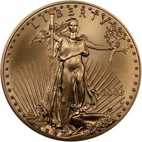 2006 W EAGLE BURNISHED GOLD EAGLE G$50 MS obverse