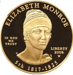 2008 W ELIZABETH MONROE G$10 PF obverse