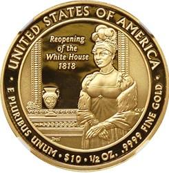 2008 W ELIZABETH MONROE G$10 PF reverse