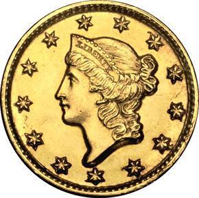 1849 D G$1 MS obverse