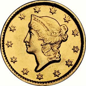 1853 D G$1 MS obverse