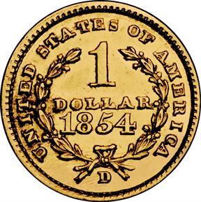 1854 D G$1 MS reverse