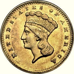 1856 D G$1 MS obverse