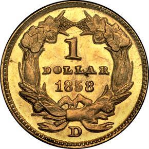 1858 D G$1 MS reverse