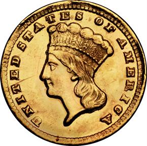 1860 D G$1 MS obverse