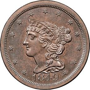 1849 LARGE DATE C-1 1/2C MS obverse
