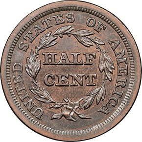 1849 LARGE DATE C-1 1/2C MS reverse