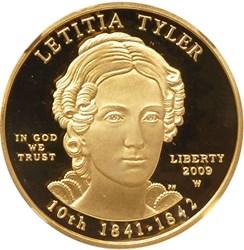 2009 W LETITIA TYLER G$10 PF obverse
