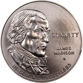 1993 D JAMES MADISON S$1 MS obverse