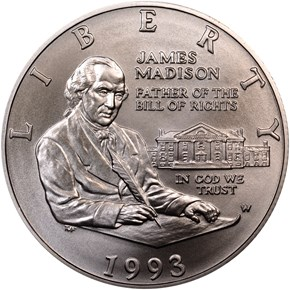 1993 W JAMES MADISON 50C MS obverse