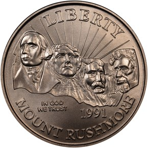 1991 D MOUNT RUSHMORE 50C MS obverse