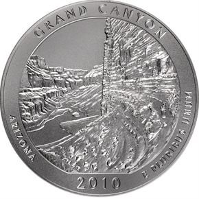 2010 P 5oz SILVER GRAND CANYON 25C SP reverse