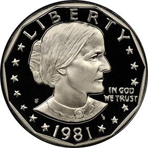 1981 S TYPE 2 $1 PF obverse