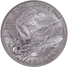 1991-1995 D W.W.II S$1 MS obverse
