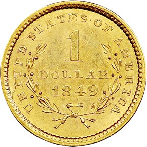 1849 OPEN WREATH G$1 MS reverse