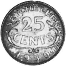 1939-1944 Seychelles 25 Cents reverse