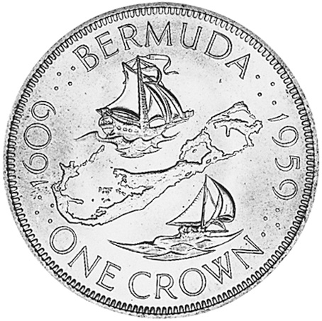 1959 Bermuda Crown reverse