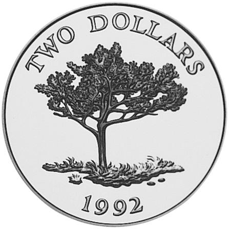 1992 Bermuda 2 Dollars reverse