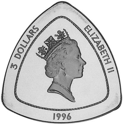 1996 Bermuda 3 Dollars obverse