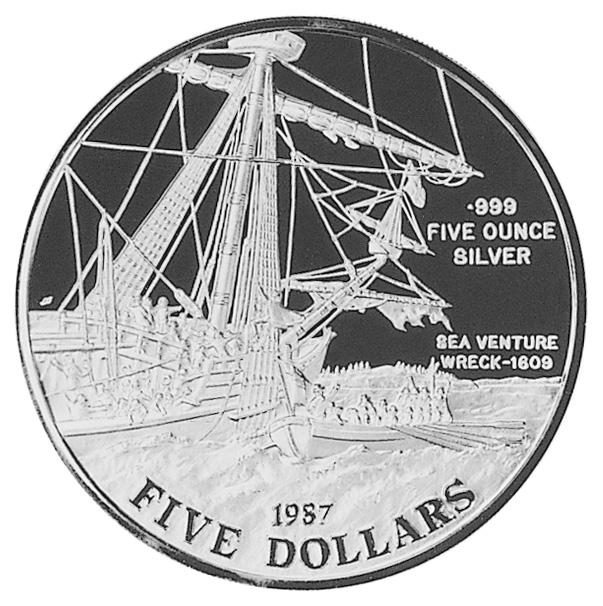 1987 Bermuda 5 Dollars reverse