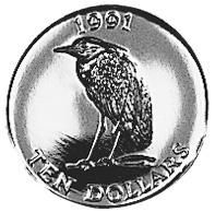 1991 Bermuda 10 Dollars obverse