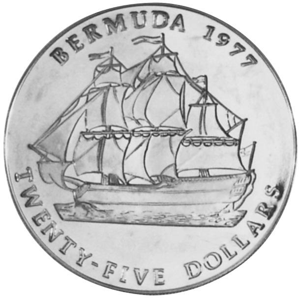 1977 Bermuda 25 Dollars reverse
