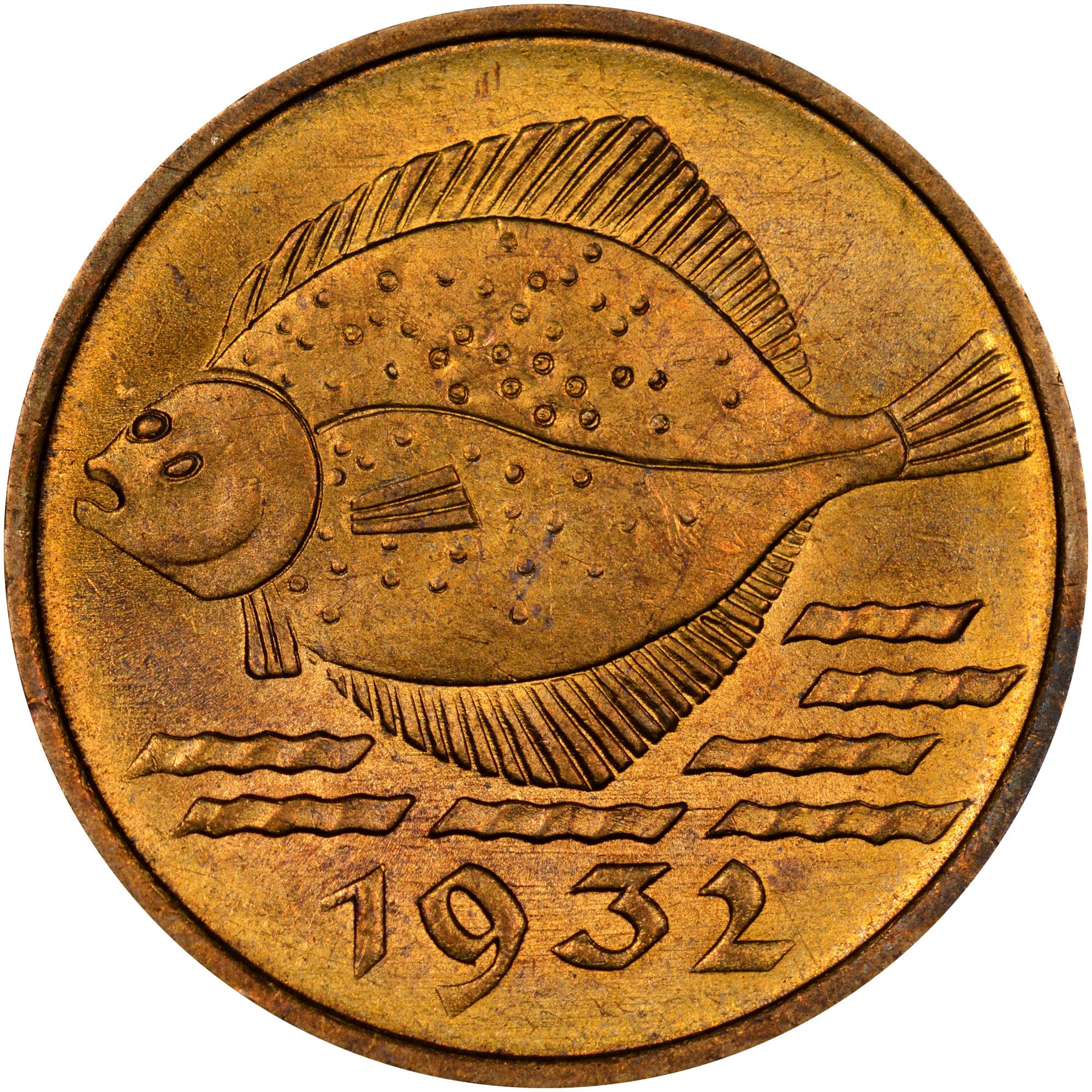 1932 Danzig 5 Pfennig reverse