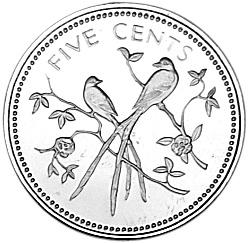 1974 Belize 5 Cents reverse
